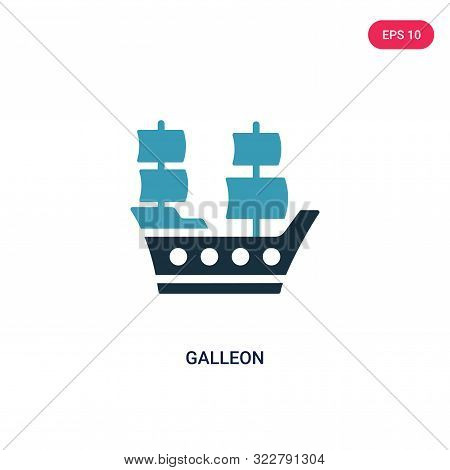 galleon icon in two color design style.