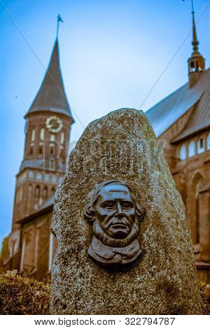 Russia, Kaliningrad, 05.11.2018: The Gravestone On The Grave Of Immanuel Kant On The Background Of T