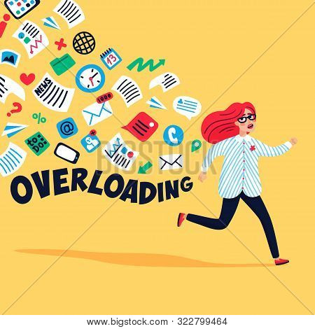 Input Overloading. Information Overload Concept. Young Woman Running Away From Information Stream. C