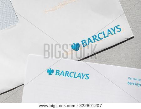 London / Uk - September 14th 2019 - Corners Of Barclays Bank Letters, Isolated On A Gray Background.