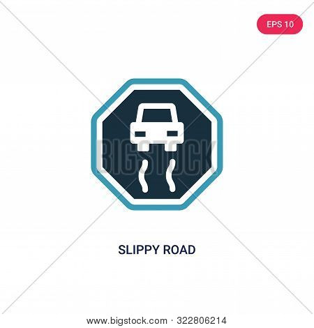 slippy road icon in two color design style.