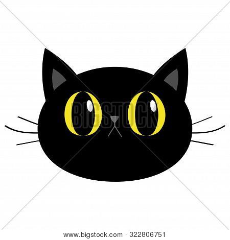 Black Cat Round Head Face Icon. Cute Funny Cartoon Character. Big Yellow Eyes. Sad Emotion. Kitty Wh