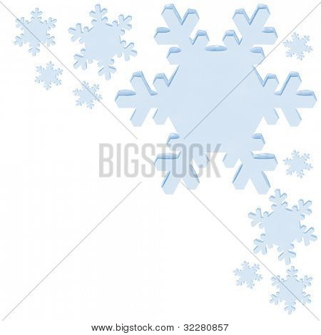 Snowflakes on white with copy space