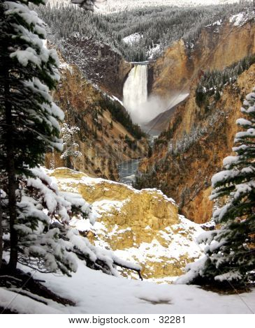 Snow And Yellowstone Falls