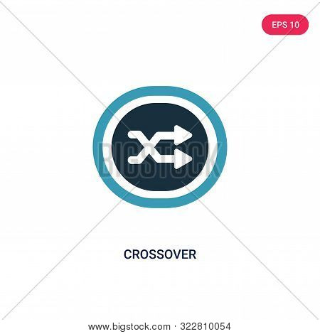 crossover icon in two color design style.