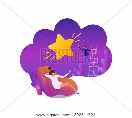 A Young Man Performs A Feat For A Girl, Pulls A Star From The Sky. Flat Scene Cartoon Illustration V