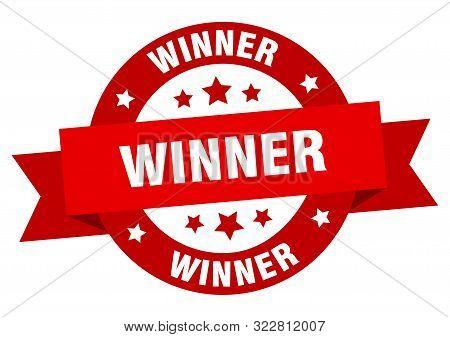 Winner Ribbon. Winner Round Red Sign. Winner
