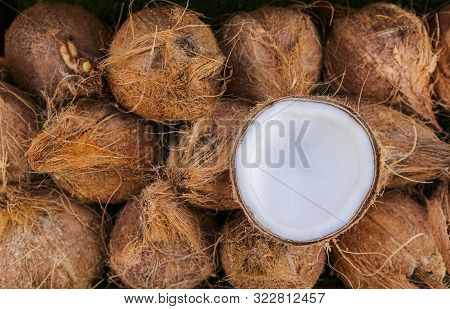 Pile Of Ripe Coconuts
