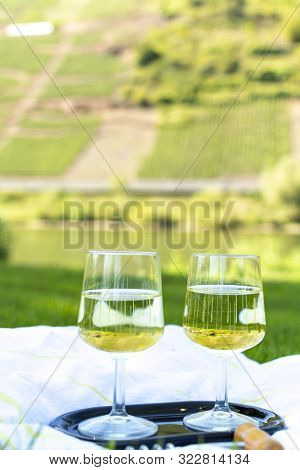 Tasting Of Famous German Quality White Wine Riesling, Produced In Mosel Wine Regio From White Grapes