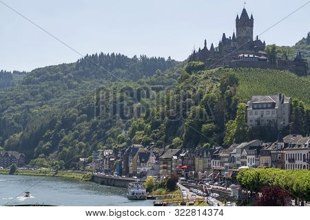 View On Small German Town Cochem Located In Mosel River Valley, Quality Wine Regio In Germany