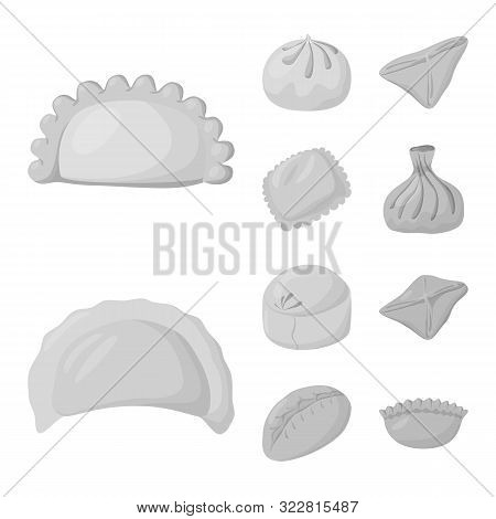 Isolated Object Of Dumplings And Stuffed Logo. Collection Of Dumplings And Dish Stock Vector Illustr