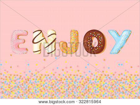 Delicious Cookies Flat Lettering Word Enjoy Vector. Sweet Baking Cartoon Font. Creative Gingerbread