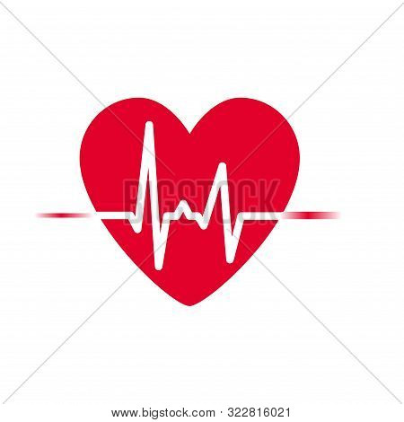 Heartbeat Icon Vector. Heart Rhythm, Electrocardiogram, Ecg - Ekg Signal, Heart Beat Pulse Line Conc