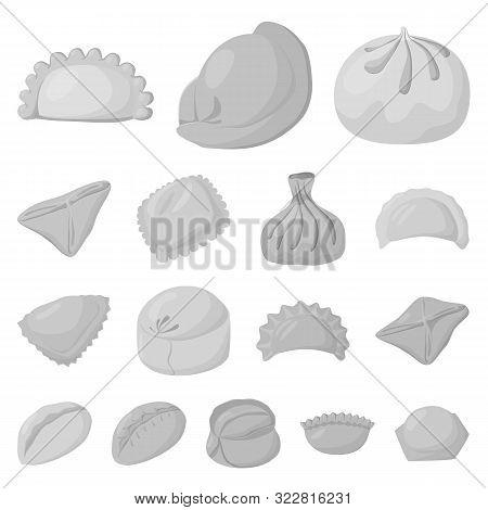 Vector Design Of Dumplings And Stuffed Sign. Collection Of Dumplings And Dish Stock Vector Illustrat
