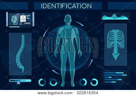 Futuristic Identification Process Flat Illustration. Smart Recognition System, Full Body Scan. Human