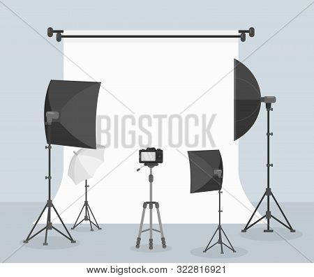 Photography Equipment Flat Vector Illustration, White Background For Taking Picture. Different Camer