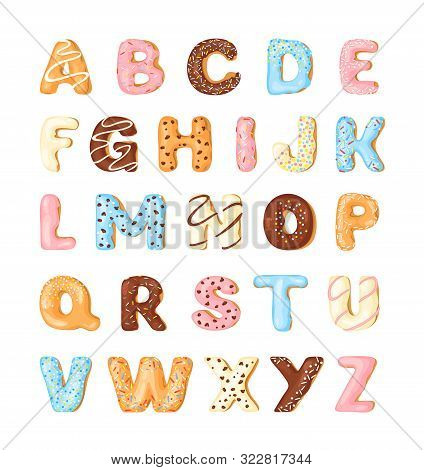 Delicious Cookies Flat Alphabet Vector Set. Sweet Baking Cartoon Font. Creative Gingerbread Typograp