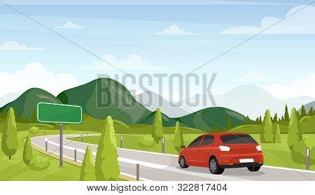 Car Travel, Road Trip Flat Vector Illustration. Minivan On Highway And Empty, Blank Traffic Sign. Sc