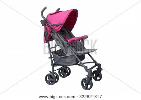 Baby Stroller On A White Background, Gray Baby Stroller Isolated On White Background With Pink Plank