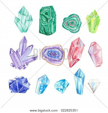 Watercolor Colorful Crystals And Gems Isolated On White Background.