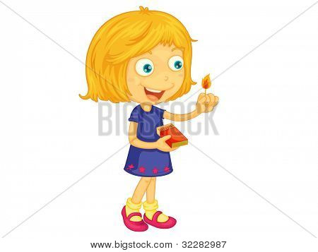 Illustration of a girl lighting a match - EPS VECTOR format also available in my portfolio.