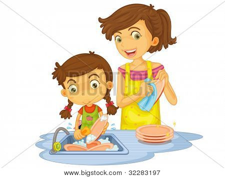 Illustration of mother and daughter washing dishes - EPS VECTOR format also available in my portfolio.