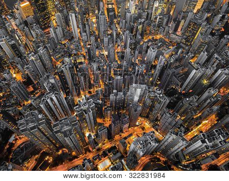 Aerial Top View Of Hong Kong Downtown, Republic Of China. Financial District And Business Centers In