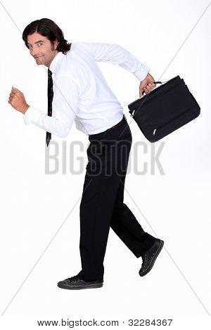 Businessman fleeing poster