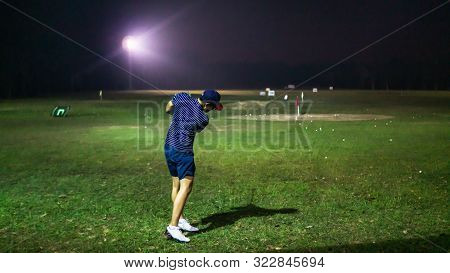 Selangor, Malaysia - September 17, 2019: A Man With A Short Pants Holding A Golf Club Playing At The