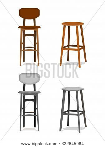 Vector Set Ocher, Brown Wooden And Melallic Bar Stools With Leather Seats Front View Isolated On Whi