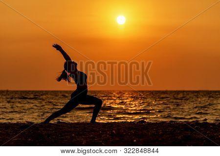 Balance Meditation Yoga Spirit Life Mind Woman Peace Vitality, Silhouette Outdoors On The Sea Sunset