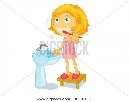Illustration of child brushing teeth - EPS VECTOR format also available in my portfolio.