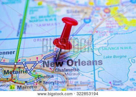 New Orleans Road Map With Red Pushpin, City In The United States Of America Usa.