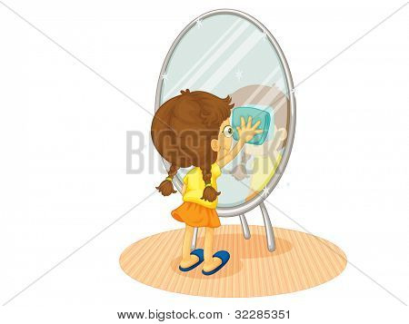 Illustration of a child cleaning - EPS VECTOR format also available in my portfolio.