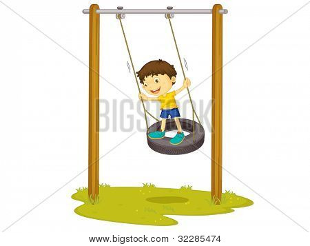 Illustration of a boy on a tyre swing - EPS VECTOR format also available in my portfolio.