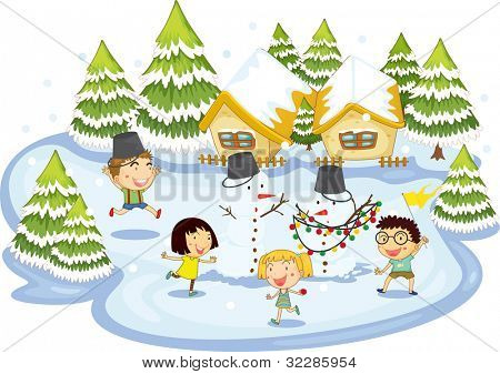 Illustration of kids playing at christmas time - EPS VECTOR format also available in my portfolio.