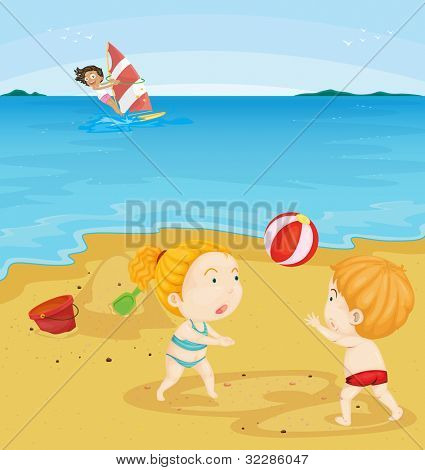 Illustration of kids playing at the beach - EPS VECTOR format also available in my portfolio.