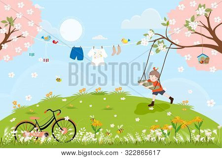 Cute Cartoon Spring Landscape With Vintage Bike And Little Boy Playing Swing Under The Tree, Vector