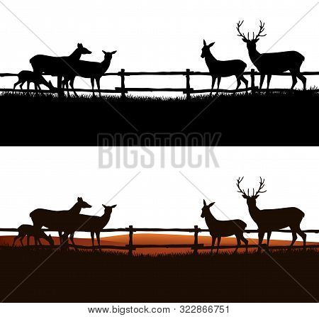 Group Of Deer Grazing Behind The Fence - Farm Field And Animal Herd Vector Silhouette