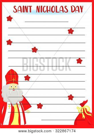 A Form Or Template For A Letter By St. Nicholas With A Miter, A Pastoral Staff And Falling Snow. Eur
