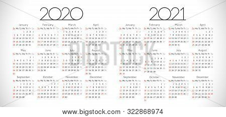 Calendars 2020, 2021. Calendar 2020 - 2021. Horizontal Schedule Layout. Xmas Logotype In Minimalism