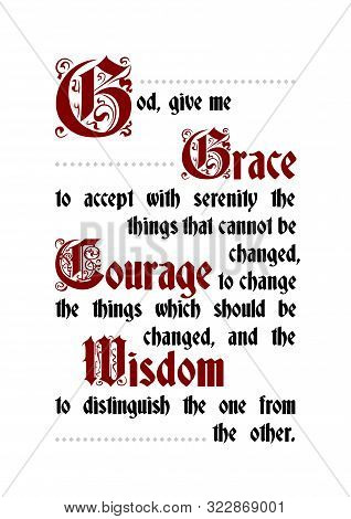 The Serenity Prayer Poster Calligraphy Lettering Text