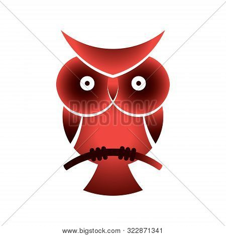 Owl Icon For Vector Logitp. Owl Sitting On A Branch