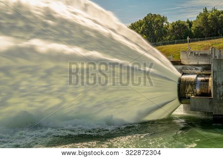 water release from turbines of hydro electric power plant