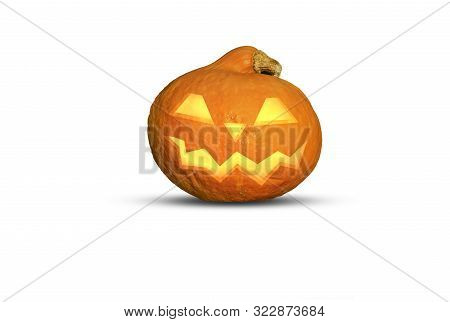 A Nasty Grinning Pumpkin On Isolated Background