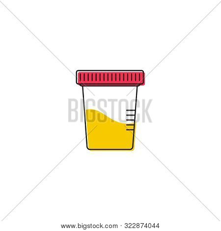 Vector Icon For Urine Test Jars On A White Background In Linear Style
