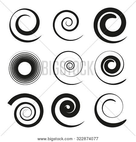 Set Of Black Spiral And Swirl Motion Elements. Swirling Vector Icons