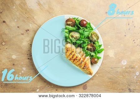 Intermittent Fastin Concept. One-third Plate With Healthy Food And Two-third Plate Is Empty. Chicken