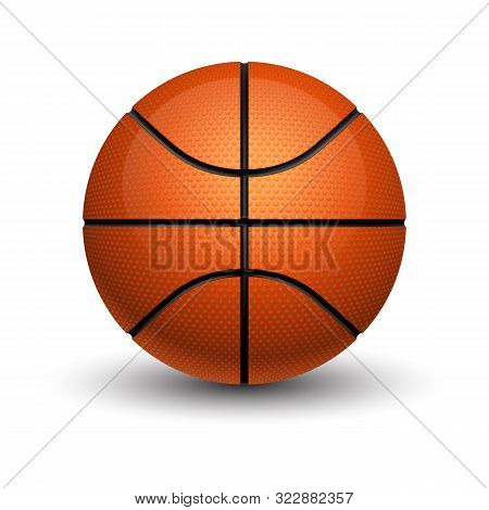 Isolated Basketball Ball With Shadow. Sport Leather Sphere With Shade. Rubber Orange Equipment For P