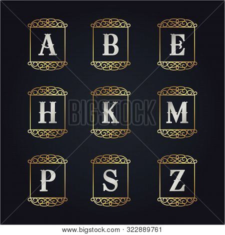Luxury A To Z Golden Letters Vector Design Illustration.